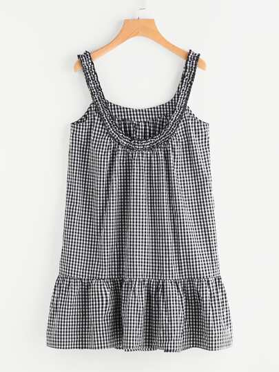 Frilled Scoop Back Tiered Hem Gingham Dress