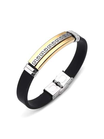 Color Block Stainless Steel Bracelet
