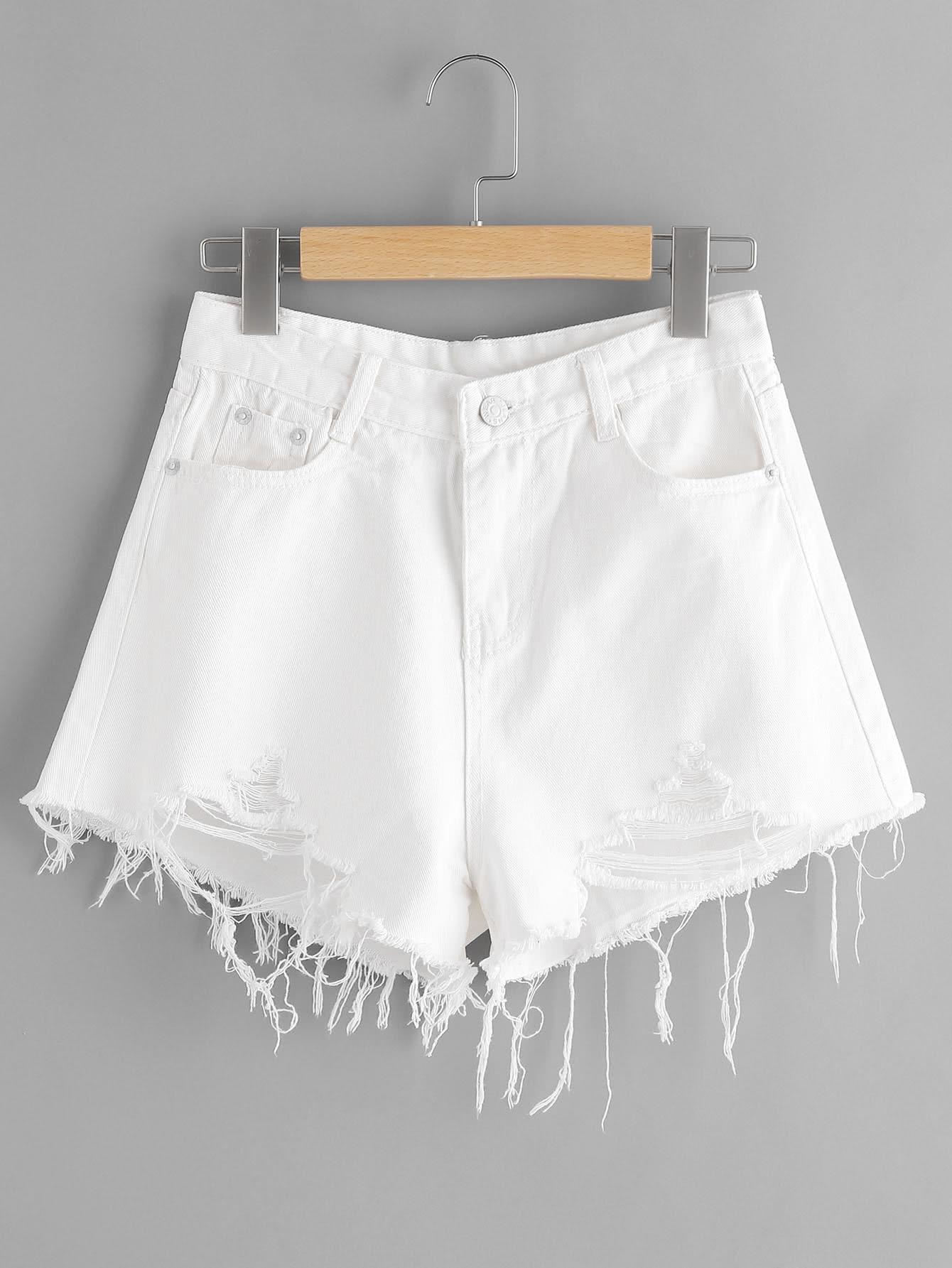 Фото Destroyed Fray Hem Denim Shorts. Купить с доставкой