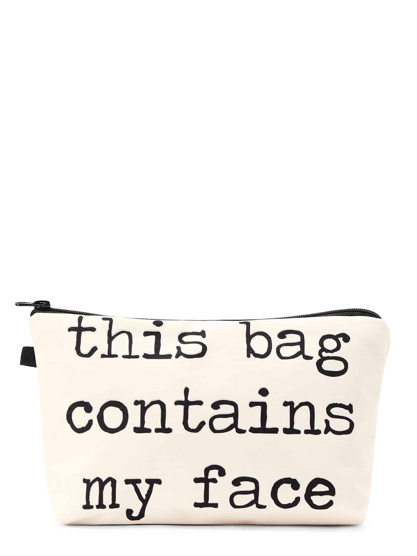 Фото Slogan Print Zipper Cosmetic Bag. Купить с доставкой