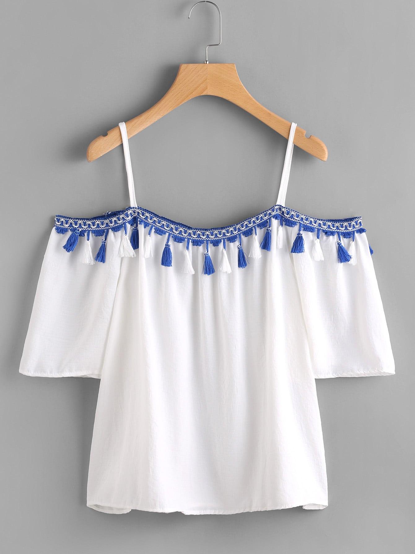 Open Shoulder Taped Embroidered Tassel Trim Top RBLO170621001
