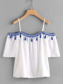 Open Shoulder Taped Embroidered Tassel Trim Top