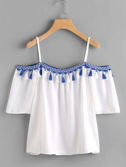 Open Shoulder Taped Embroidered Tassel Trim Top