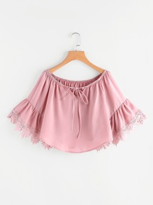 Tie Front Lace Trim Bell Cuff Top