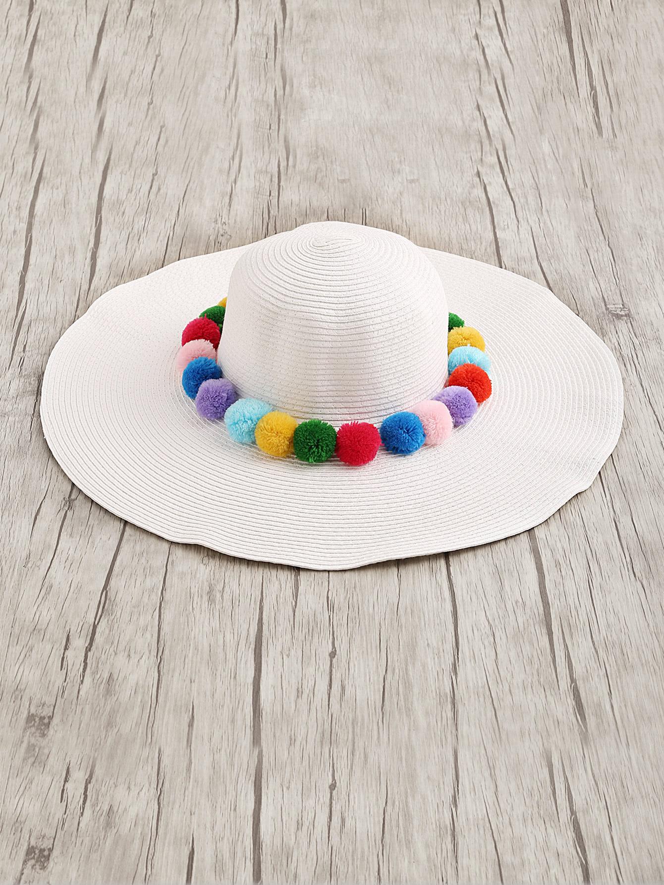 Фото Pom Pom Embellished Straw Floppy Hat. Купить с доставкой