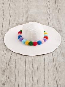 Pom Pom Embellished Straw Floppy Hat