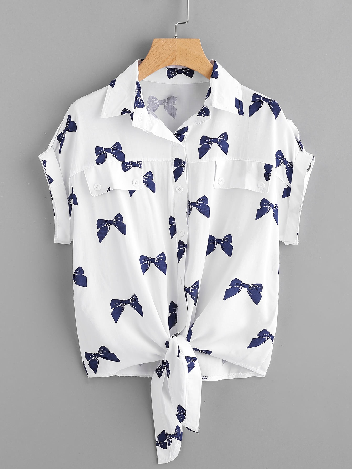 Knotted Hem Cuffed Bow Print Shirt cartoon cats print cuffed shirt
