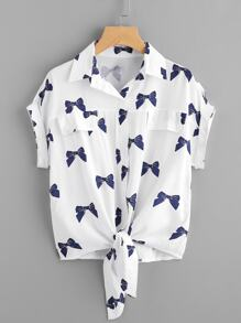 Knotted Hem Cuffed Bow Print Shirt