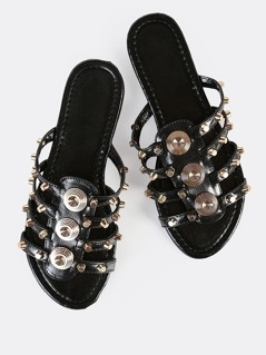 Studded Cage Slip On Sandals BLACK