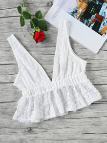 Double Plunge Lace Crop Peplum Top