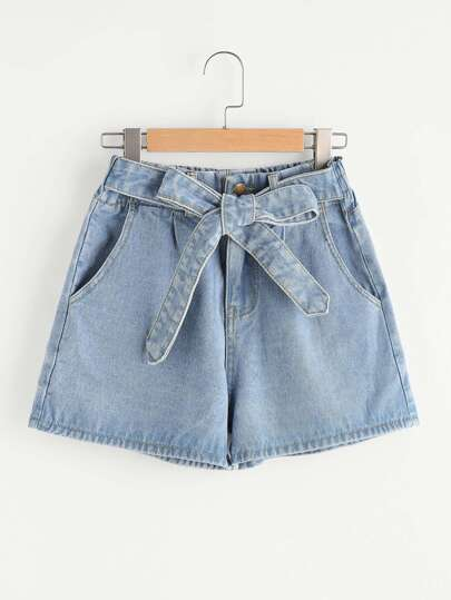 Self Tie Front Denim Shorts