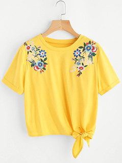 Embroidered Flower Applique Knot Hem Cuffed Tee