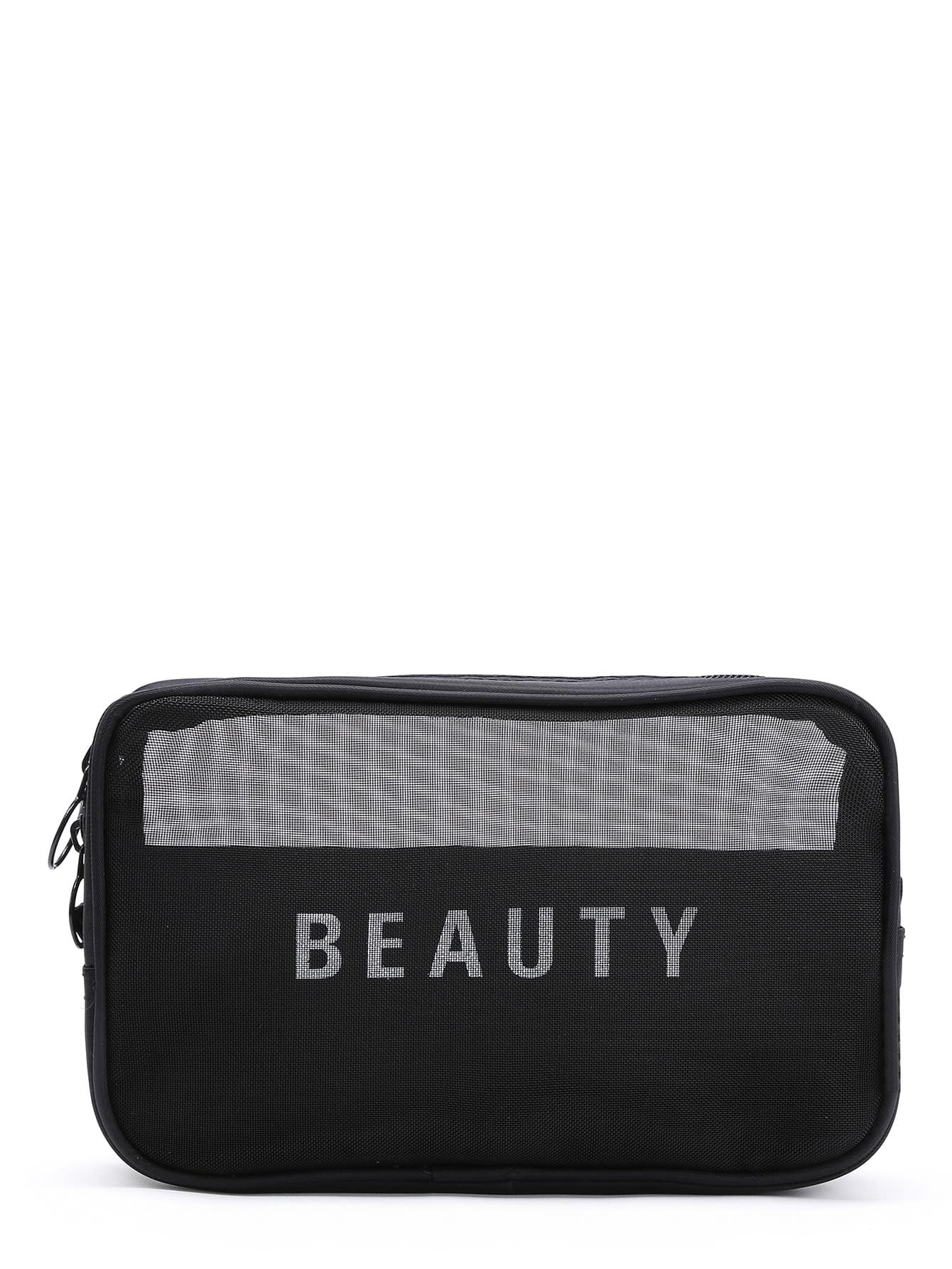 Slogan Print Mesh Cosmetic Bag