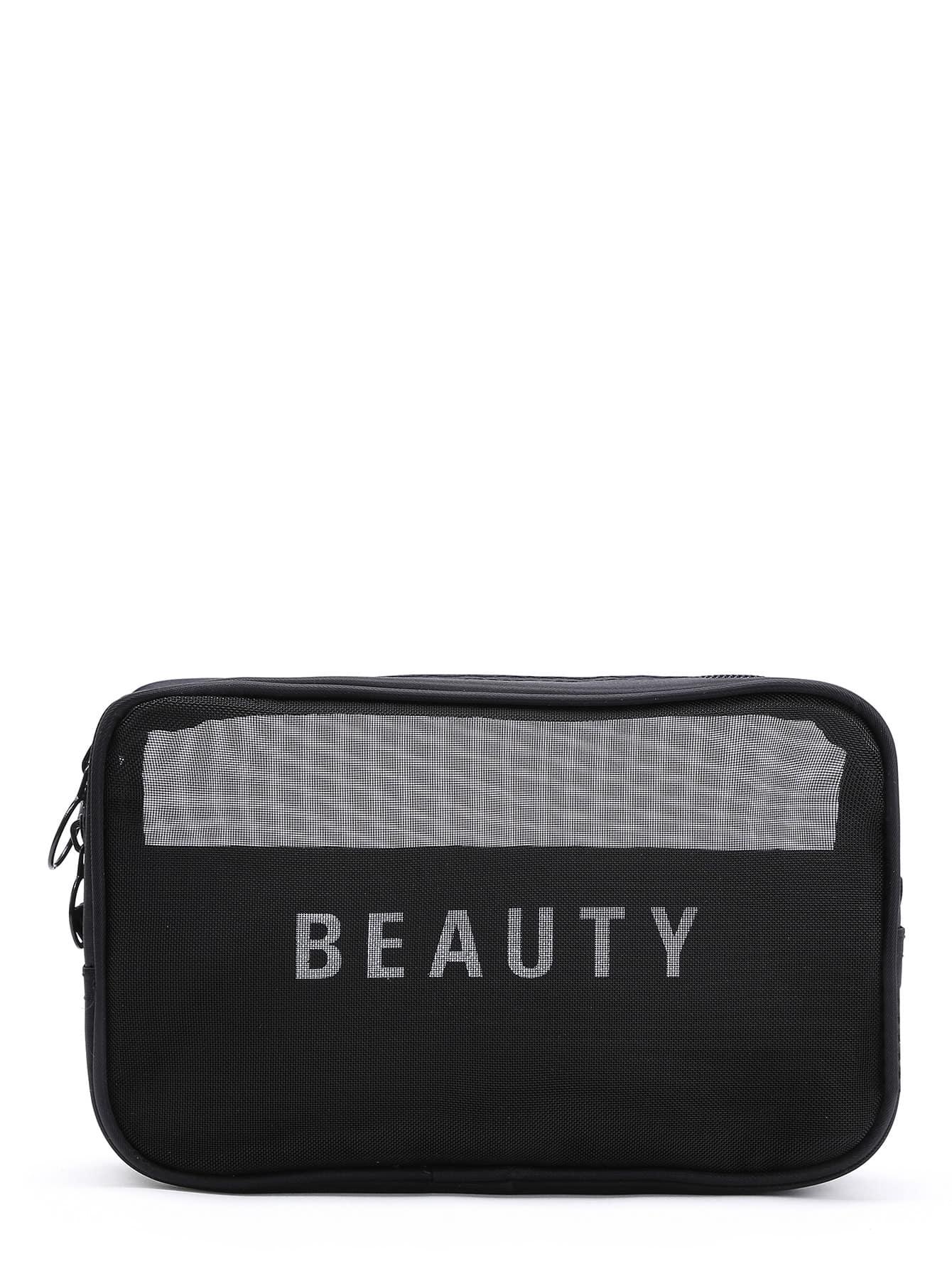 Slogan Print Mesh Cosmetic Bag