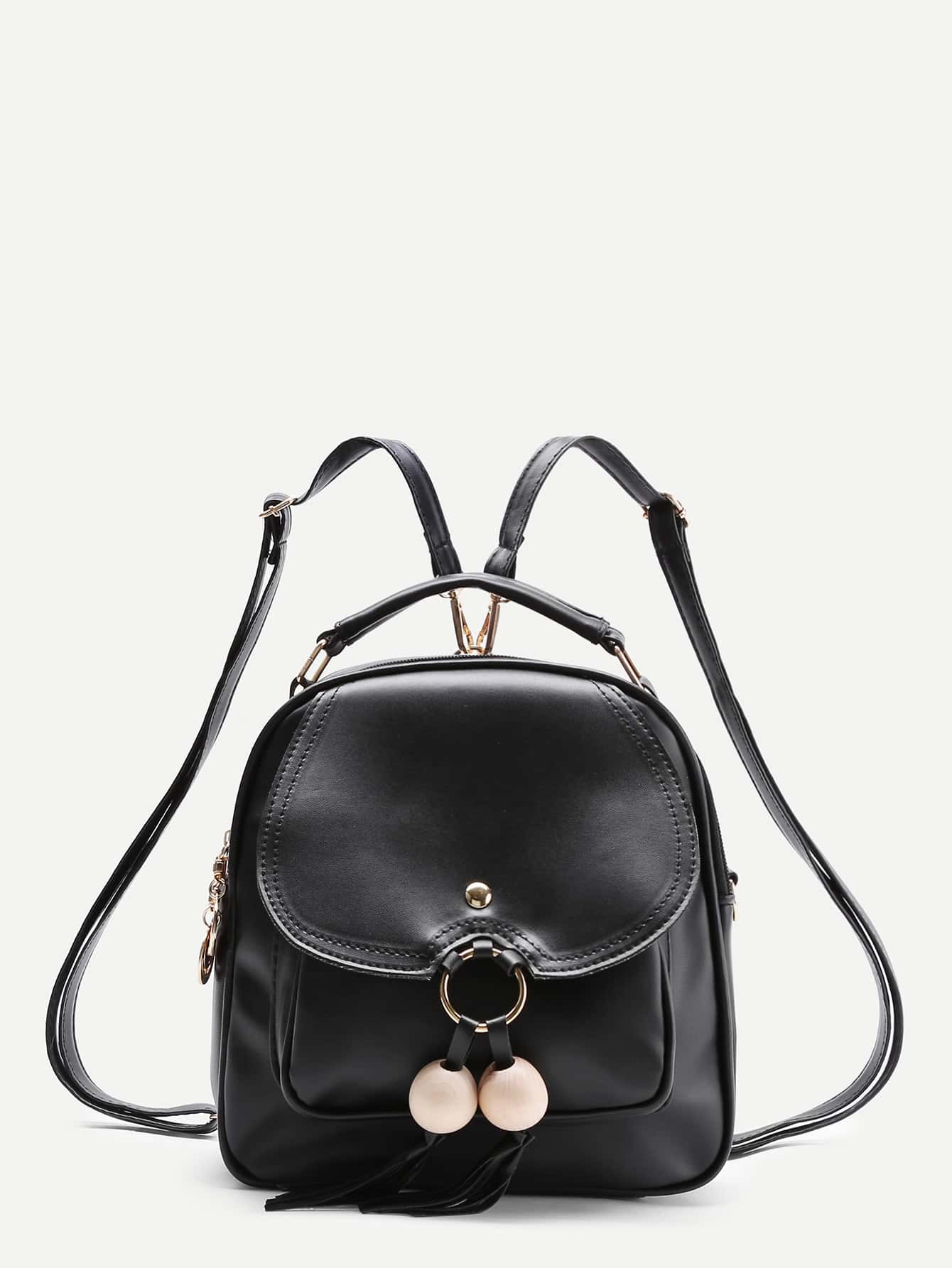 Wood Beads Detail PU Backpack With Tassel