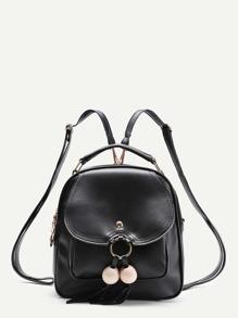 Модный кожаный рюкзак с бахромой