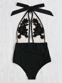 Flower Embroidery Halter Mesh Swimsuit