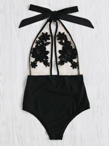 Flower Embroidery Halter Mesh Swimsuit