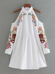 Open Shoulder Flower Embroidered Zipper Back Dress