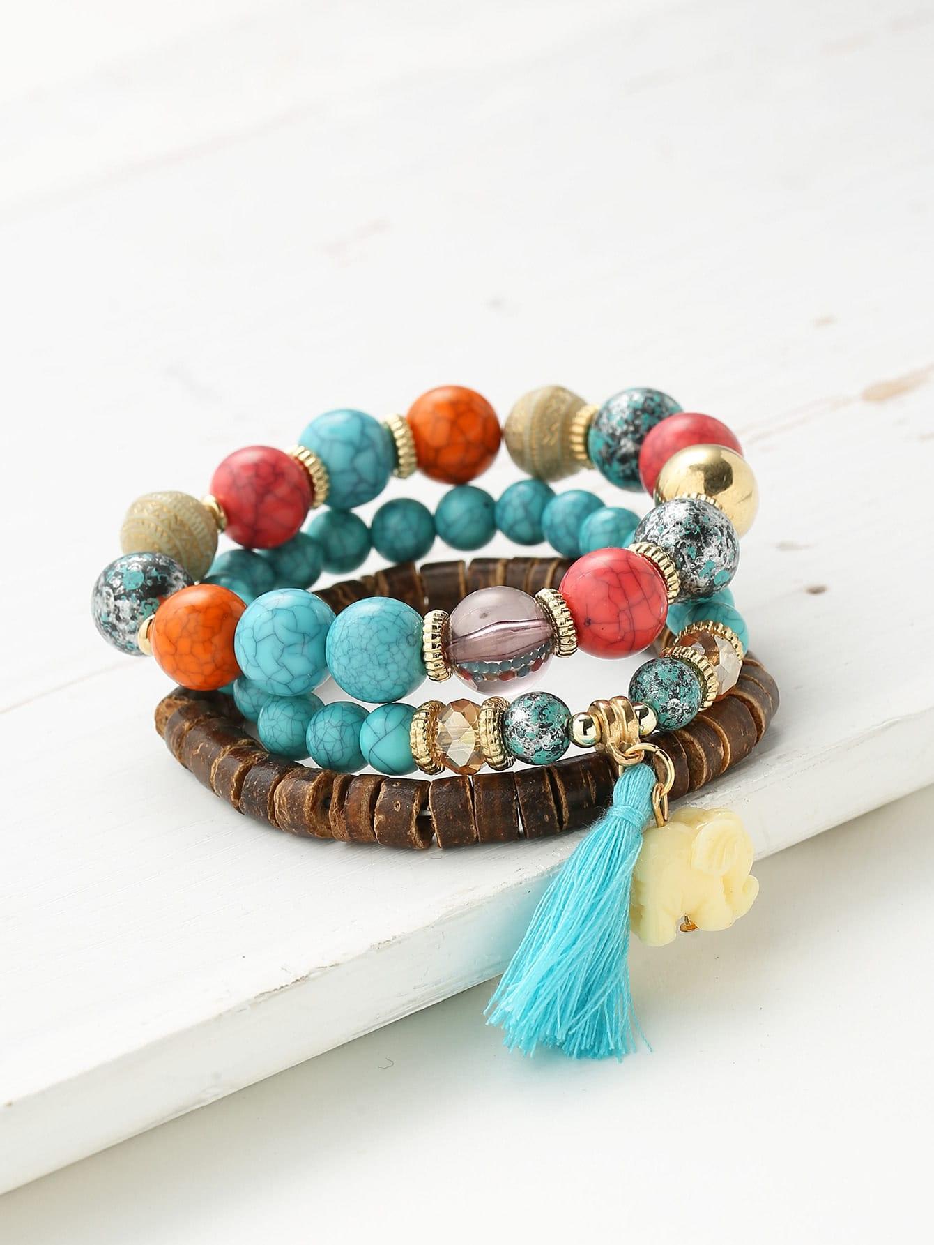 Фото Elephant & Tassel Embellished Bracelet Set. Купить с доставкой