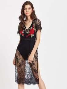 Embroidered Appliques High Slit Floral Eyelash Lace Dress