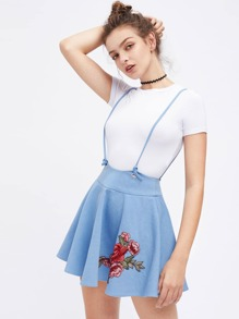 Embroidered Rose Patch Flared Shoulder Strap Skirt