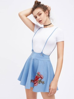 Embroidered Rose Patch Flared Shoulder Strap Skirt