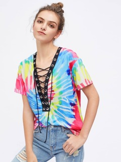 Contrast Eyelet Lace Up Plunge Neck Tie Dye T-shirt