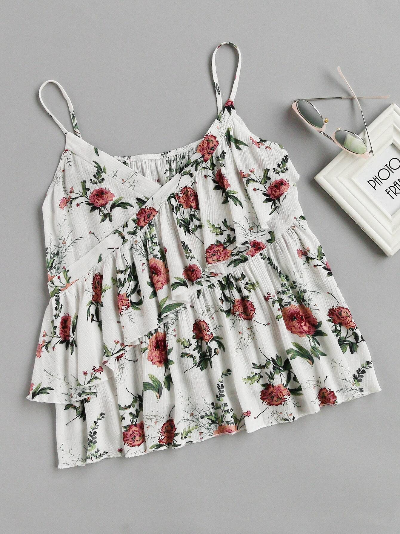 Фото Botanical Print Surplice Wrap Tiered Cami Top. Купить с доставкой