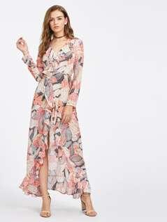 Frilled Surplice Wrap Dress