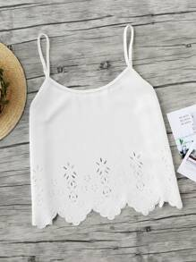 Laser Cut Scallop Hem Cami Top