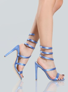 Satin Coil Stiletto Heels BLUE