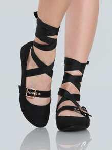 Lace Up Buckle Ballet Flats BLACK