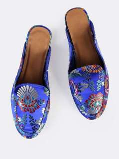 Vintage Print Backless Loafers BLUE