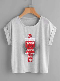 Feminism Slogan Print Cuffed Tee