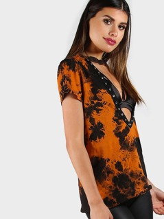 Grommet Detail Plunge Choker Crushed Velvet Top