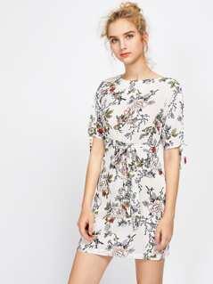 Drawstring Split Sleeve Self Tie Dress