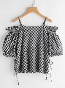 Gingham Frill Trim Tie Detail Top