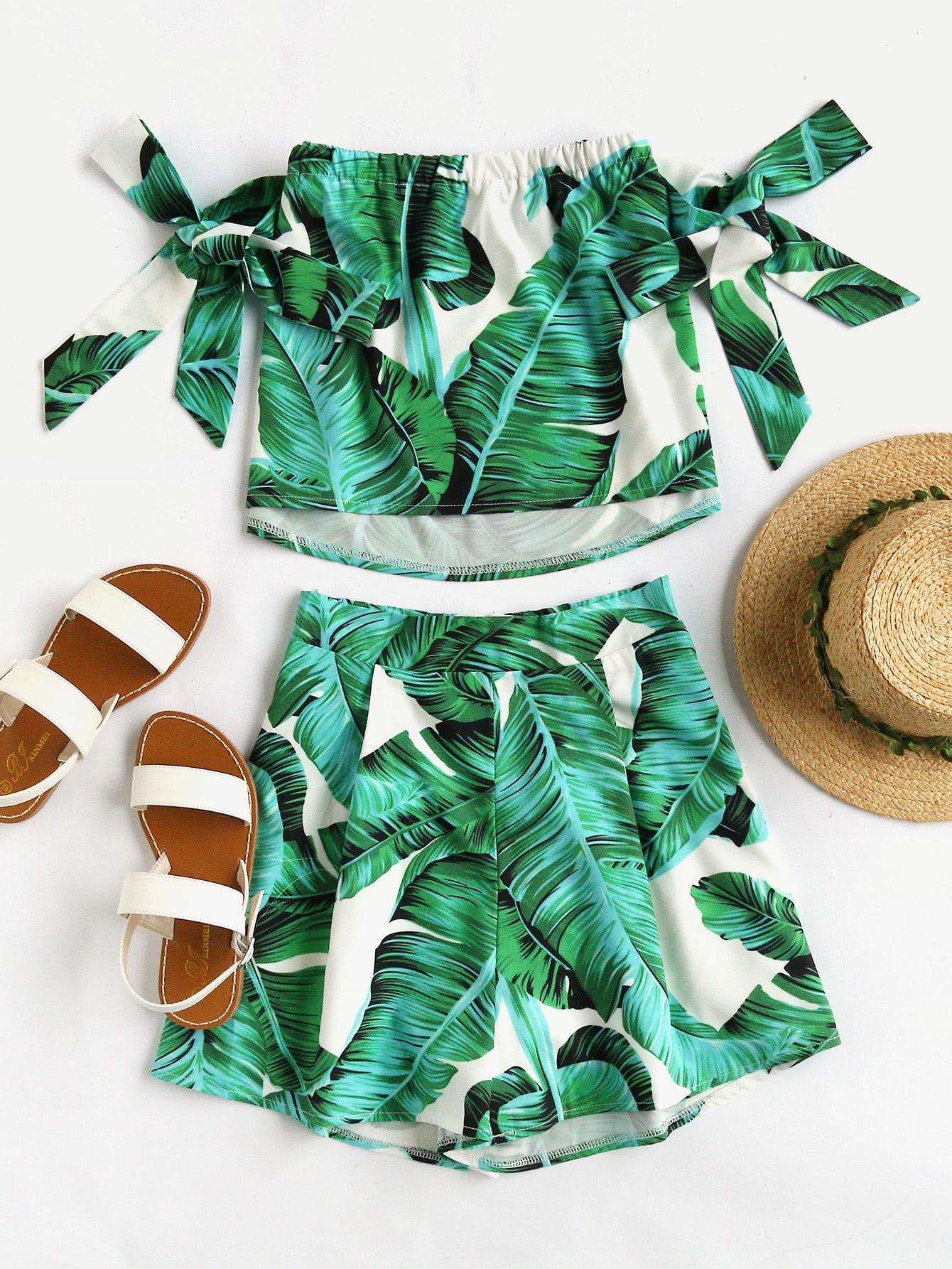 Bardot Sash Tie Sleeve Random Crop Top With Shorts