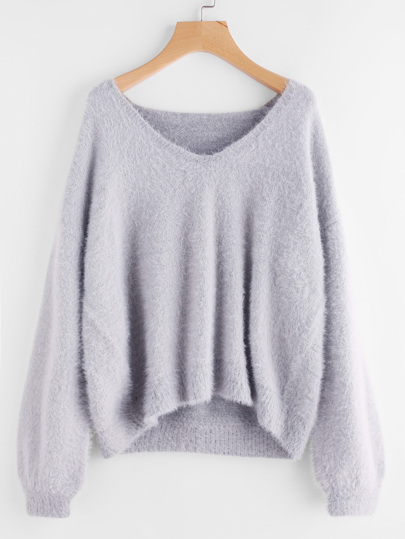 Pull-over duveteux manche bouffante