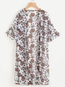 Random Florals Frill Cuff Chiffon Kimono