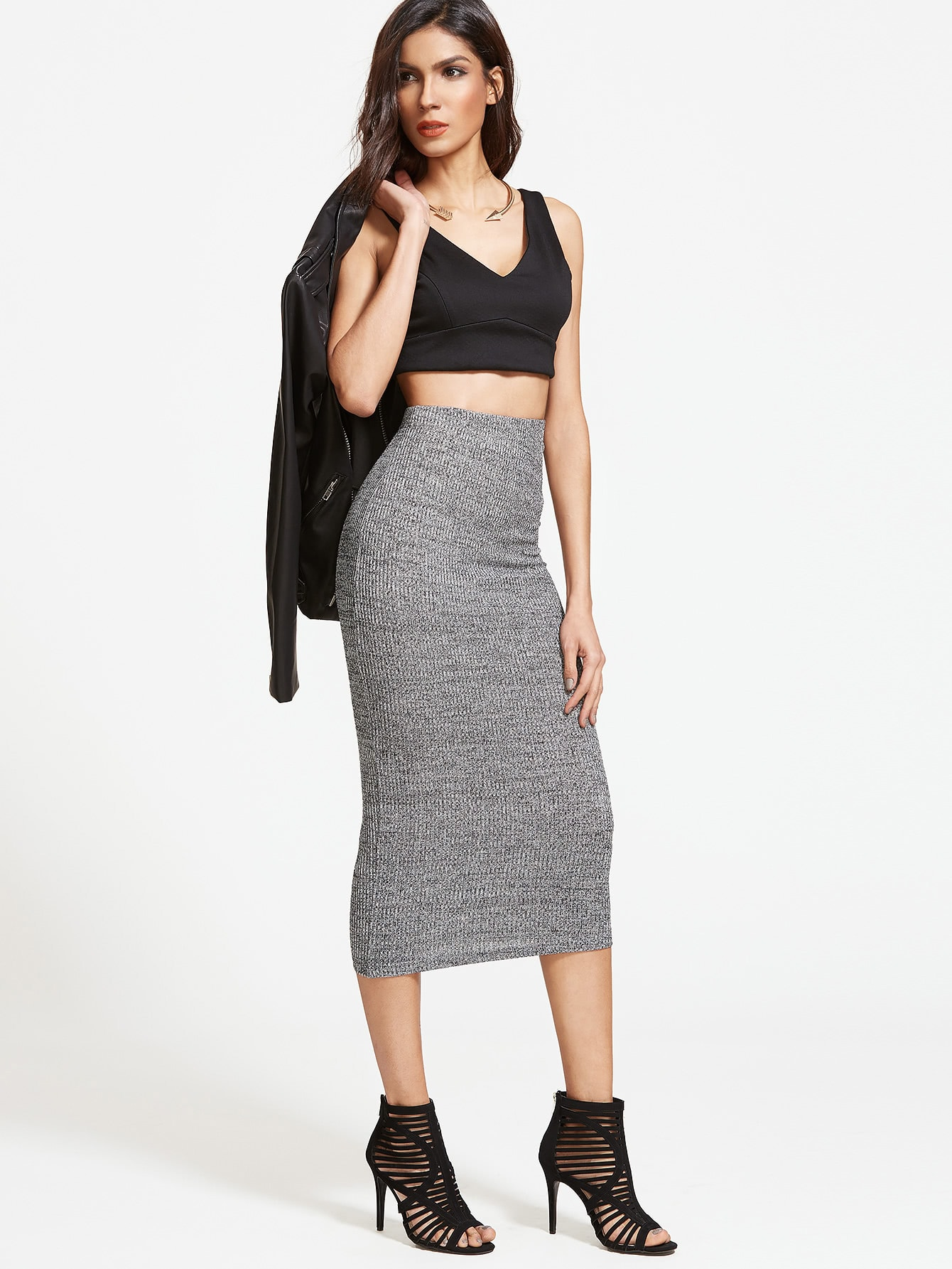Ribbed Knit Pencil Skirt ribbed knit pencil skirt