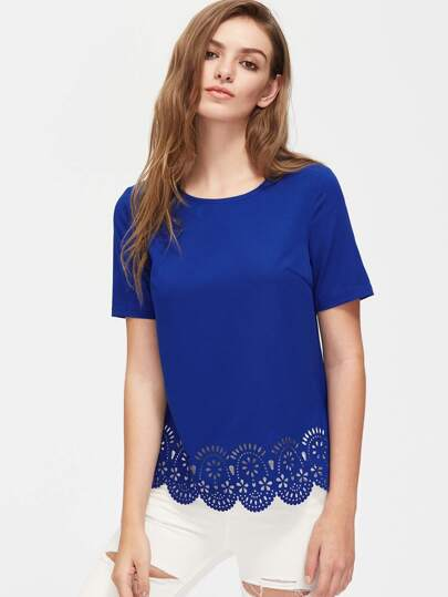 Laser Cutout Scallop Hem Top