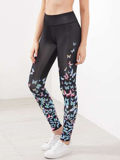 Butterfly Print Wide Waistband Leggings