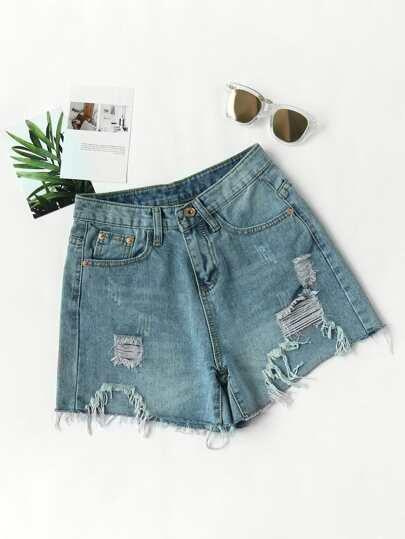 Destroyed Fray Hem Denim Shorts