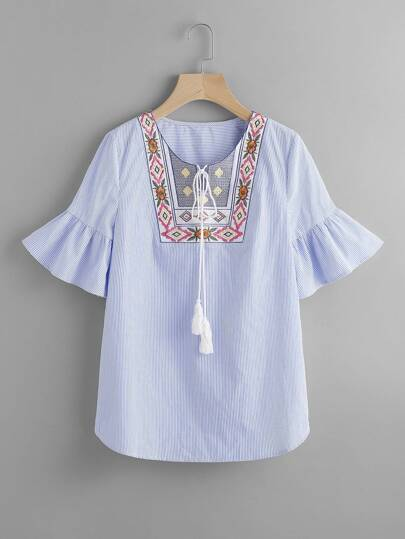 Tasseled Tie Embroidered Yoke Fluted Sleeve Top