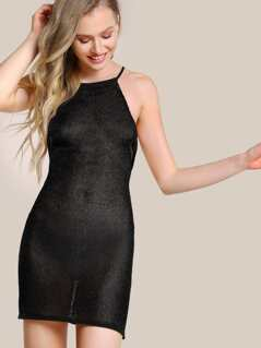 Netted Halter Dress BLACK