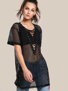 Fishnet Lace Up Top BLACK