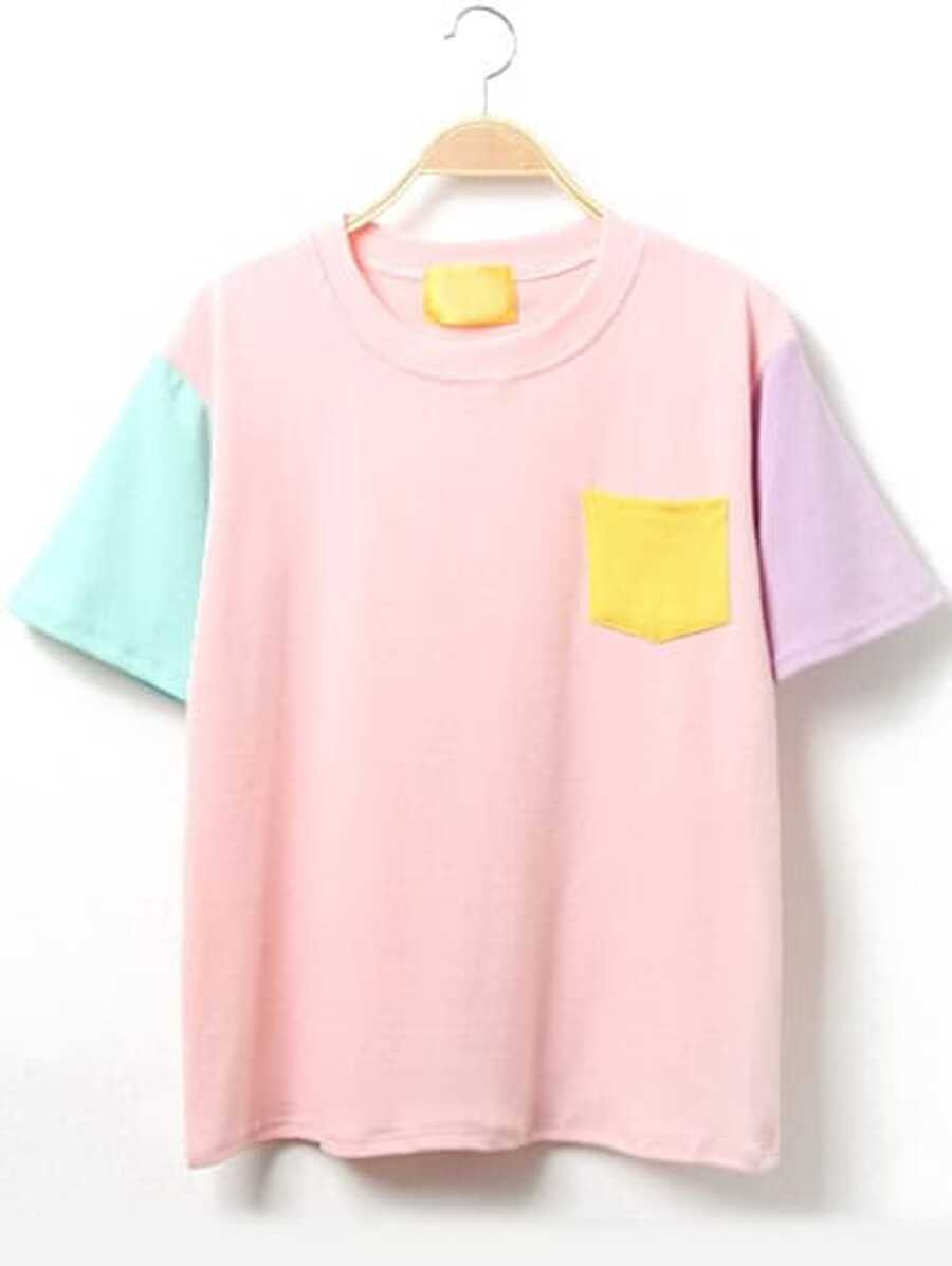 Color Block Short Sleeve T Shirt With Pocket by Sheinside