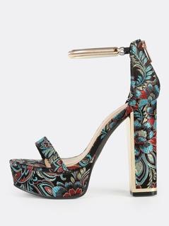 Oriental Platform Gold Ankle Strap Heels BLACK